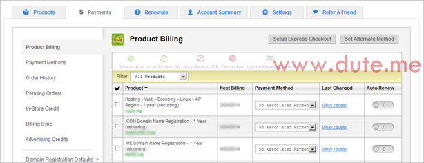 GoDaddy Product Billing 页面