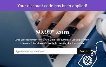 GoDaddy - .COM域名0.99美元